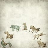 Textured old paper background. With Chinese horoscope animals circle Stock Photography