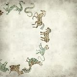 Textured old paper background. With Chinese horoscope animals circle Stock Image