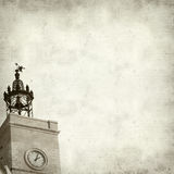Textured old paper background. With old church tower Royalty Free Stock Image