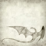 Textured old paper background. With dragon ilustration Stock Images