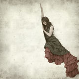 Textured old paper background. With flamenco dancer in a ruins of old church Royalty Free Stock Photography