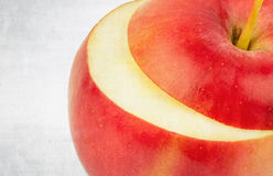 Textured old paper background , fresh red apple Stock Photography