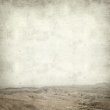 Textured old paper background. With landscape of central  Fuerteventura, Canary Islands Royalty Free Stock Images