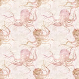 textured old paper background with octopus Stock Images
