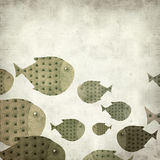 Textured old paper background. With swimming fish illustration Royalty Free Stock Images