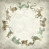 Textured old paper background. With Chinese horoscope animals circle Stock Photo