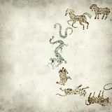 Textured old paper background. With Chinese horoscope animals circle Royalty Free Stock Photography
