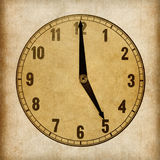Textured old paper clock face. 5 o'clock Royalty Free Stock Photography