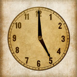 Textured old paper clock face. 5 o'clock Stock Image