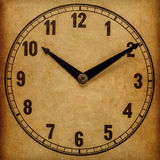 Textured old paper clock face. 5 o'clock Stock Photography