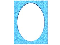 Textured oval photoframe 3d render in blue Royalty Free Stock Photography