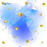 Textured paint splash blue background and glittering golden balls. VECTOR illustration Stock Images