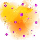 Textured paint splash yellow background and glittering pink balls. VECTOR illustration Stock Images