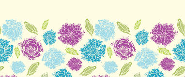 Textured painted flower horizontal seamless Stock Photography
