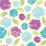 Textured painted flower seamless pattern Stock Image
