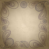 Textured paisley frame. It can be used like design element for text, background e.t. c Stock Image