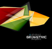 Textured paper geometric shapes on black. Vector abstract background Stock Photo