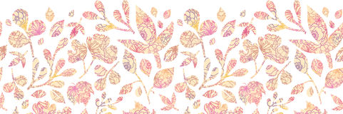 Textured pastel Leaves Horizontal Seamless Pattern Stock Photo