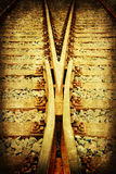 Textured picture of rail tracks Stock Images