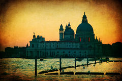 Textured picture of Venice at dusk Royalty Free Stock Photo