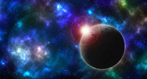 Textured Planet On Colored Sky Royalty Free Stock Photography