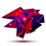 Textured plastic geometric object with flashes, ruby Stock Photo