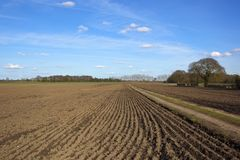 Farm track with plowed fields Stock Image