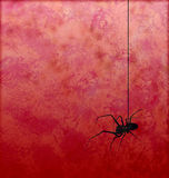Textured red background with spider silhouette horror Stock Photo