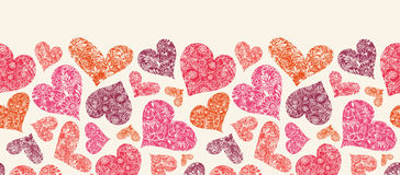 Textured Red Hearts Horizontal Seamless Pattern Royalty Free Stock Photos