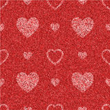 Textured red seamless pattern with hearts Stock Photography