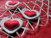 Textured Red And White Hearts Stock Image