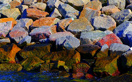 Textured rocks of a sea wall Royalty Free Stock Photos