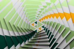 Textured rotated hexagons with green and yellow triangle pattern. 3d illustration royalty free illustration