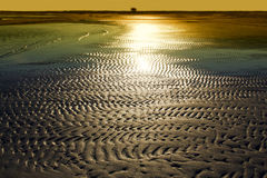Textured sand in evening, the Baltic sea coast. Textured sand from waves in evening, see view,the Baltic sea coast Royalty Free Stock Images