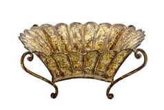 Textured Scratched Ornate Metal Bowl on Curved Legs Stock Image