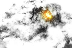 Textured Smoke with sunlight ,Abstract black, on white b. Ackground Royalty Free Stock Photo