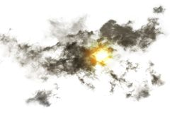 Textured Smoke with sunlight ,Abstract black, on white b. Ackground Stock Photography