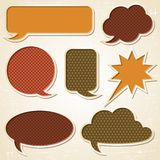 Textured speech bubbles and stickers set in retro Royalty Free Stock Photography