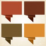 Textured speech bubbles and stickers set in retro Stock Images