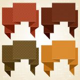 Textured speech bubbles and stickers set in retro Stock Photos