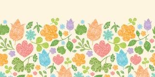 Textured spring plants horizontal seamless pattern Stock Photos