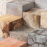 Textured stone cubes Stock Image
