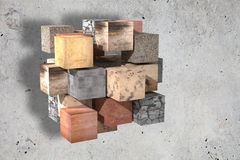 Textured stone cubes Royalty Free Stock Photography