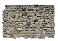 Stone wall. Textured stone wall, white background isolated royalty free stock photo