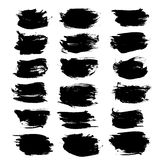 Textured strokes thick black paint  set Royalty Free Stock Image