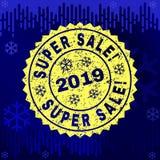 Textured SUPER SALE! Stamp Seal on Winter Background royalty free illustration