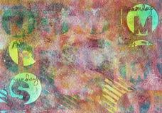 Textured tło z listami, okręgami i lampasami, ilustracja wektor