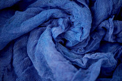 Textured, twisted into a flower gauze. Blue. Textured, twisted into a flower gauze. Blue Close Royalty Free Stock Photography