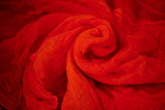 Textured, twisted into a flower gauze. red. Royalty Free Stock Photos