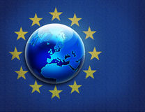 Textured United Europe flag and globe over it Royalty Free Stock Photography